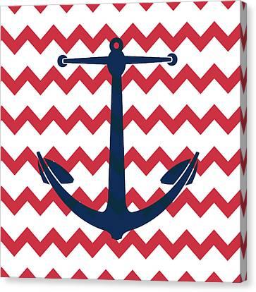 Anchored Canvas Print - Chevron Anchor by Brandi Fitzgerald