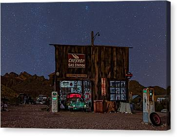 Stars Canvas Print - Chevron Gas Station Under The Stars by Susan Candelario