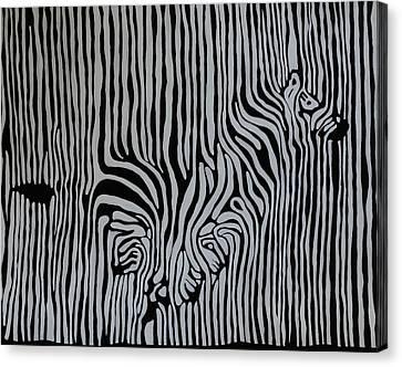 Chevron Zebra White Canvas Print by Rachel Olynuk