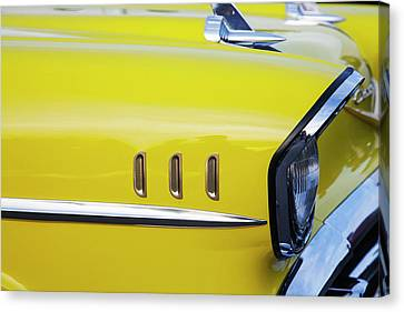 Chevy Bel Air Abstract In Yellow Canvas Print by Toni Hopper