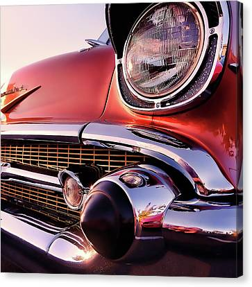 Antique Automobiles Canvas Print - Chevy Bel Air Grille And Bumper Detail by Jon Woodhams