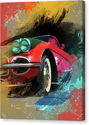Chevy Corvette Digital Art Canvas Print