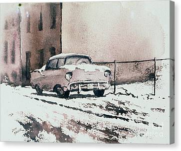 Chevy In Snow Canvas Print by Donald Maier