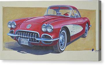 Canvas Print featuring the drawing Chevy by Mike Jeffries