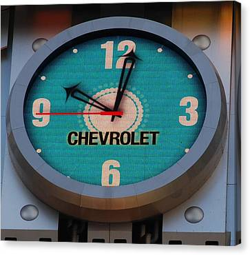 Chevy Neon Clock Canvas Print by Rob Hans