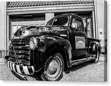 Chevy Pickup At Wally's Canvas Print by Cynthia Wolfe