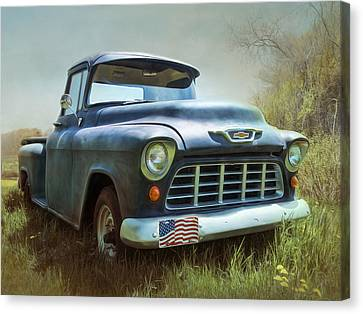 Canvas Print featuring the photograph Chevy Truck by Robin-Lee Vieira