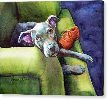 Chew Shoe, Dog On Couch Canvas Print