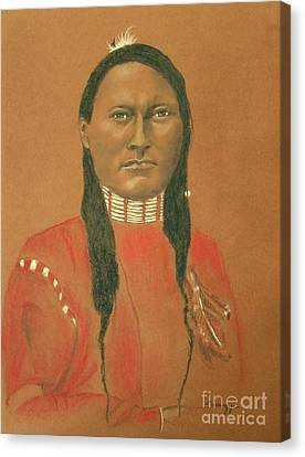 Cheyenne Scout Red Sleeve, 1879 -- Historical Portrait Of Native American Man Canvas Print by Jayne Somogy