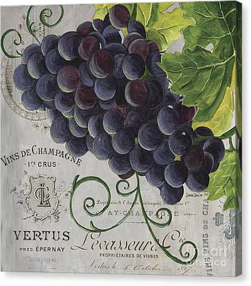 Purple Grapes Canvas Print - Vins De Champagne 2 by Debbie DeWitt