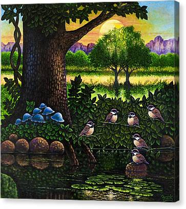 Canvas Print featuring the painting Chicadees by Michael Frank