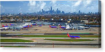Chicago Airplanes 01 Canvas Print by Thomas Woolworth