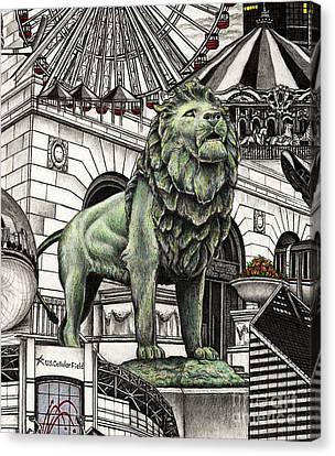 Chicago Art Institute Lion Canvas Print