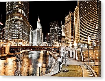 Chicago At Night At Wabash Avenue Bridge Canvas Print by Paul Velgos