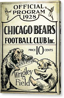 Chicago Bears Football Club Program Cover 1928 Canvas Print by Daniel Hagerman