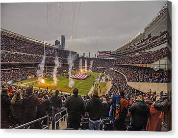 Walter Payton Canvas Print - Chicago Bears Soldier Field National Anthem 7745 by David Haskett