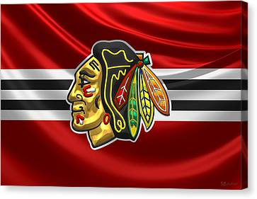 Chicago Blackhawks - 3 D Badge Over Silk Flag Canvas Print