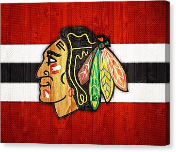 Goalie Canvas Print - Chicago Blackhawks Barn Door by Dan Sproul