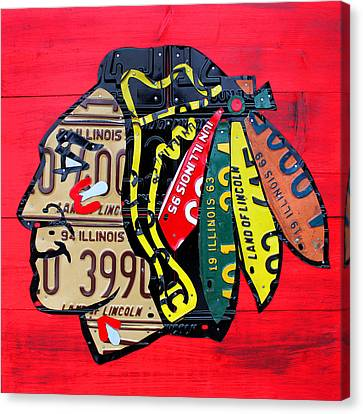 Chicago Blackhawks Hockey Team Vintage Logo Made From Old Recycled Illinois License Plates Red Canvas Print
