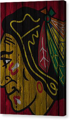 Goalie Canvas Print - Chicago Blackhawks Wood Fence by Joe Hamilton