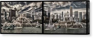 Chicago Buckingham Fountain Summer Storm Passing Multi Panel Canvas Print by Thomas Woolworth