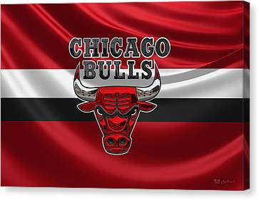 Basketball Collection Canvas Print - Chicago Bulls - 3 D Badge Over Flag by Serge Averbukh