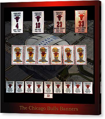 Bulls Canvas Print - Chicago Bulls Banners Collage by Thomas Woolworth