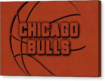 Chicago Bulls Leather Art Canvas Print by Joe Hamilton
