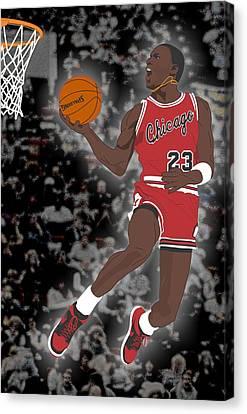Basketball Collection Canvas Print - Chicago Bulls - Michael Jordan - 1985 by Troy Arthur Graphics