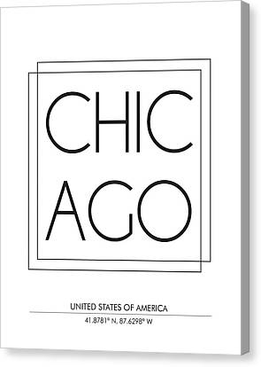 Chicago City Print With Coordinates Canvas Print