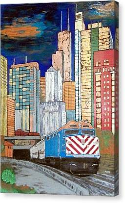 Chicago City Train Canvas Print by Char Swift