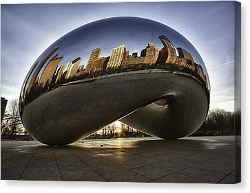 Chicago Cloud Gate At Sunrise Canvas Print by Sebastian Musial