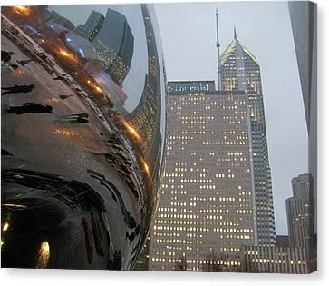 Canvas Print featuring the photograph Chicago Cloud Gate. Reflections by Ausra Huntington nee Paulauskaite
