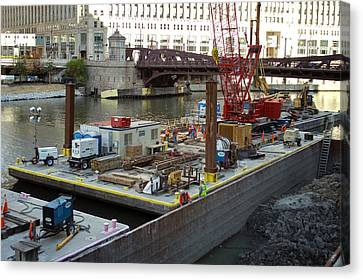 Chicago Construction Barge Pa Canvas Print by Thomas Woolworth