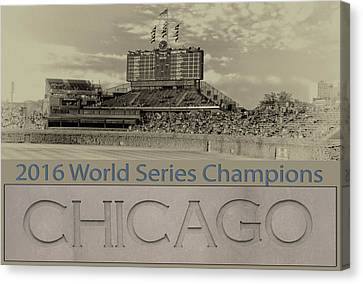 Chicago Cubs 2016 World Series Scoreboard Canvas Print by Thomas Woolworth