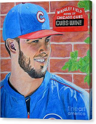 Canvas Print featuring the drawing Chicago Cubs Kris Bryant Portrait by Melissa Goodrich