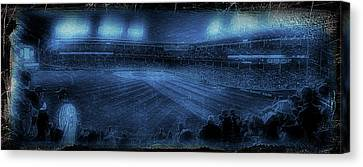 Chicago Cubs Night Game October 8th 2016 Blue Canvas Print by Thomas Woolworth