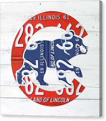 Chicago Cubs Retro Vintage Baseball Logo License Plate Art Canvas Print by Design Turnpike