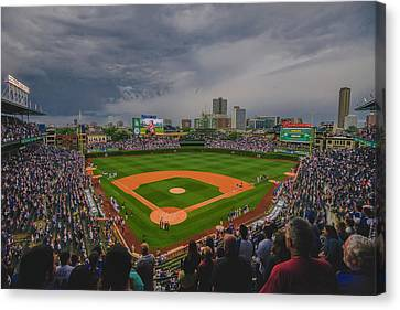 Chicago Cubs Wrigley Field 4 8213 Canvas Print by David Haskett
