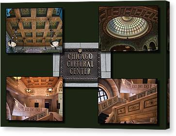 Chicago Cultural Center Collage Canvas Print by Thomas Woolworth