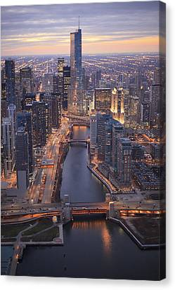 Chicago Downtown - Aerial View Canvas Print by Berthold Trenkel