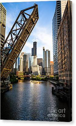 Chicago Downtown And Kinzie Street Railroad Bridge Canvas Print by Paul Velgos