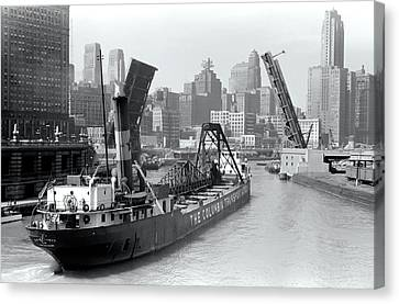 Canvas Print featuring the photograph Chicago Draw Bridge 1941 by Daniel Hagerman