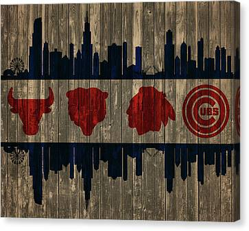 Chicago Flag Barn Door Canvas Print by Dan Sproul
