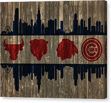 Chicago Flag Barn Door Canvas Print