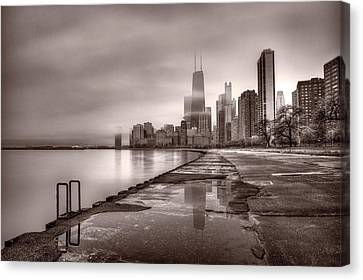 Chicago Foggy Lakefront Bw Canvas Print by Steve Gadomski