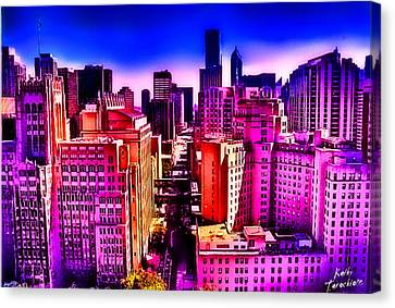 Canvas Print featuring the photograph Chicago Glowing by Kathy Tarochione