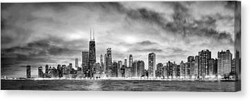 Chicago Gotham City Skyline Black And White Panorama Canvas Print by Christopher Arndt