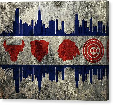 Chicago Grunge Flag Canvas Print by Dan Sproul