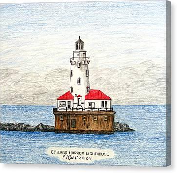 Chicago Harbor Lighthouse Canvas Print by Frederic Kohli